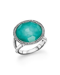 Ippolita Sterling Silver Stella Lollipop Ring In Turquoise Doublet With Diamonds Aqua Silver
