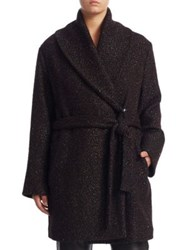 Marina Rinaldi Plus Size Short Wool Coat Dark Brown