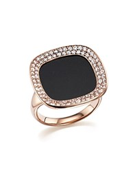 Roberto Coin 18K Rose Gold Carnaby Street Diamond And Black Jade Ring Black Rose