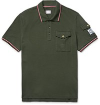 Moncler Gamme Bleu Slim Fit Contrast Tipped Cotton Pique Polo Shirt Dark Green