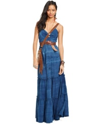 Denim And Supply Ralph Lauren Tiered Sleeveless Maxi Dress Indigo Mandala