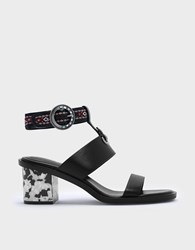 Charles And Keith Ankle Strap Heeled Sandals Black