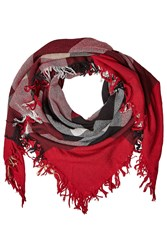 Burberry Shoes And Accessories Printed Merino Wool Scarf Red