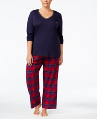 Nautica Plus Size V Neck Knit Top And Flannel Pajama Pants Gift Set Navy Plaid