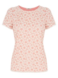 Oasis Contrast Daisy Lace T Shirt Coral