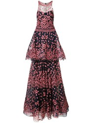Marchesa Notte Two Tiered Gown Women Nylon 2 Blue