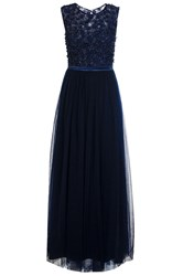 Quiz Navy Tulle Flower Maxi Dress Navy