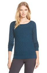 Women's Classiques Entier Cashmere Textured Knit Sweater Teal Deep