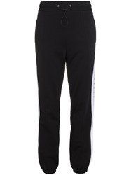 Msgm Brand Stripe Track Trousers Cotton Black
