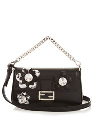 Fendi Micro Baguette Leather Cross Body Bag Black Multi