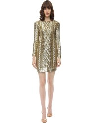 Max Mara Sequined Techno Jersey Dress Gold