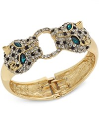 Thalia Sodi Gold Tone Pave Leopard Hinged Bangle Bracelet Only At Macy's