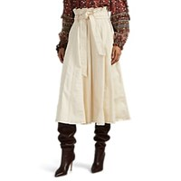 Ulla Johnson Esther Contrast Stitched Paperbag Skirt White