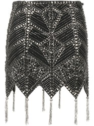 Attico Beaded Mini Skirt Black