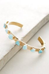 Anthropologie Turquoise Narrow Cuff Gold
