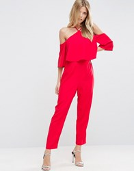 Asos Jumpsuit With Ruffle Bardot And Halter Neck Detail Red