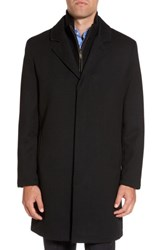 Cole Haan Men's Modern Twill Topcoat With Removable Bib Black