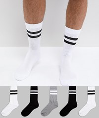 Asos Sports Style Socks 5 Pack In Monochrome With Stripes Black