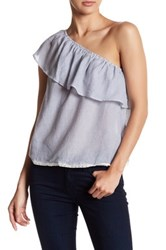 Jolt One Shoulder Pintuck Stripe Shirt Blue
