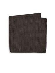 Armani Collezioni Chevron Pattern Pocket Square Black