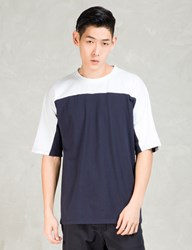 Still Good White Navy Oversize Color Block T Shirt