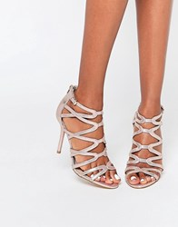 Head Over Heels By Dune Meemi Gold Lurex Caged Heeled Sandals Gold Lurex