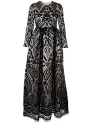 Huishan Zhang Sequin Embroidered Gown Black