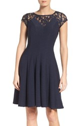 Gabby Skye Women's Lace Fit And Flare Dress