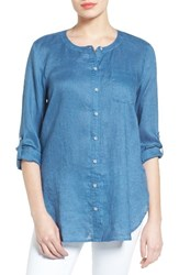 Vince Camuto Women's Two By Collarless Linen Shirt Night Dive
