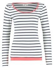 Zalando Essentials Long Sleeved Top Off White Navy Coral Red Off White