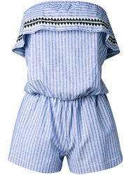Lemlem Striped Romper Blue