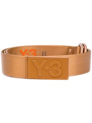 Y 3 Embossed Logo Belt Calf Leather Polyamide L Metallic