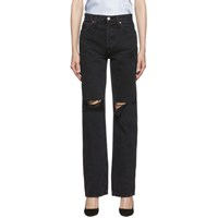 Re Done Black Rips High Rise Loose Jeans