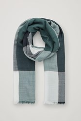 Cos Interwoven Checked Wool Scarf Turquoise