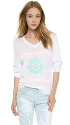 Wildfox Couture Bubble Gum Sailor Baggy Beach Sweater Clean White