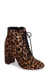 Linea Paolo Women's Brandy Lace Up Zip Bootie Leopard Print