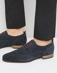 Asos Brogue Shoes In Navy Suede With Burgundy Details Navy