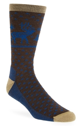 Woolrich 'Heritage Deer' Wool Blend Crew Socks Lead Grey