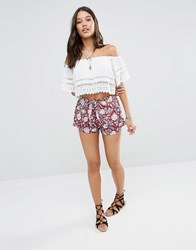 Abercrombie And Fitch Wrap Front Short In Floral Print Red Ground Floral
