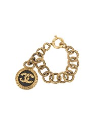 Chanel Vintage Cc Logo Medallion Chain Bracelet Metallic