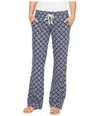 Roxy Oceanside Printed Beach Pant Dress Blue Peacock Leaves Women's Casual Pants
