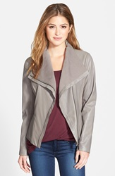 T Tahari 'Luisa' Knit Panel Drape Front Leather Jacket Online Only Mink