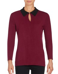 Karl Lagerfeld Collared Knit Sweater Wine