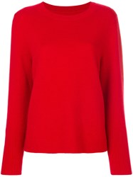 Chinti And Parker Draped Hem Sweater Cashmere Red