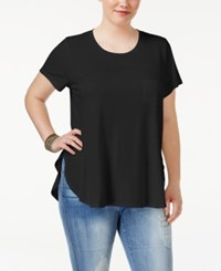 Celebrity Pink Trendy Plus Size High Low Tunic Black