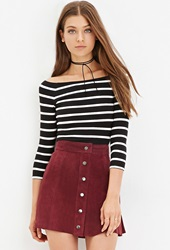 Forever 21 Striped Crop Top Black White