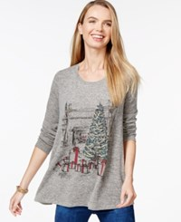 Styleandco. Style And Co. Embellished Holiday Scene Swing Tee Only At Macy's Tree Trimming