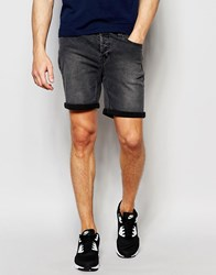 Only And Sons Denim Shorts In Slim Fit With Turn Up Washed Grey
