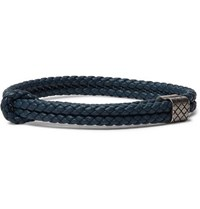 Bottega Veneta Intrecciato Woven Leather Wrap Bracelet Blue