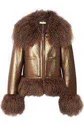 Michael Kors Collection Shearling Trimmed Metallic Leather Bomber Jacket Bronze